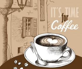Vintage Coffee with european street vector material 02