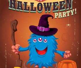 Vintage Halloween poster cute design vector 01