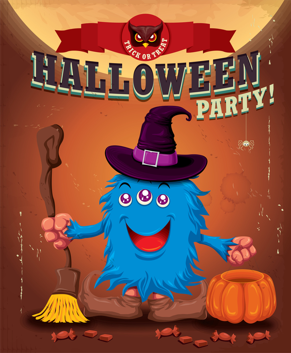 Vintage Halloween poster cute design vector 01