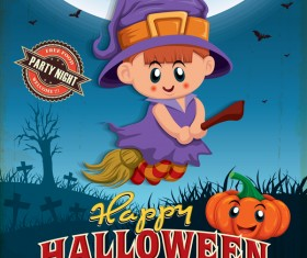 Vintage Halloween poster cute design vector 02