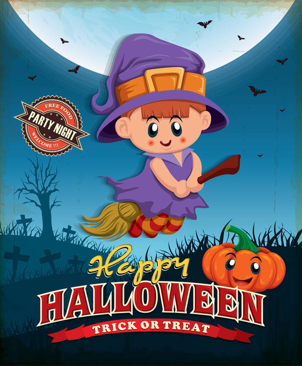 Vintage Halloween poster cute design vector 02