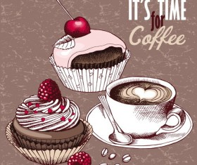Vintage cakes with coffee vector material 01