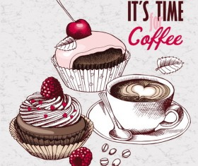 Vintage cakes with coffee vector material 02