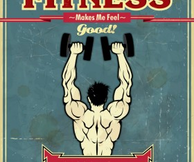 Vintage fitness club poster vector