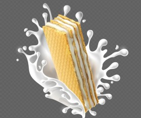 Wafer biscuits with cream vector material