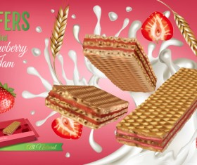 Wafers with strawberry jam vector