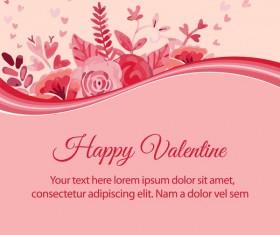 Watercolor flower valentine background vectors