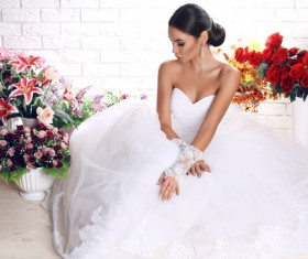 Wear Wedding dress beautiful bride Stock Photo 02