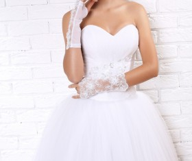 Wear Wedding dress beautiful bride Stock Photo 04