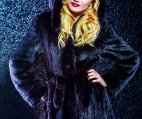 Wearing black mink coat beautiful fashionable blonde Stock Photo 02