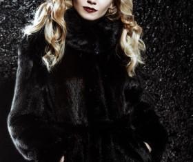 Wearing black mink coat beautiful fashionable blonde Stock Photo 03