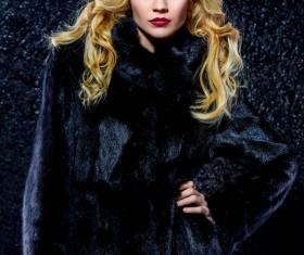 Wearing black mink coat beautiful fashionable blonde Stock Photo 04