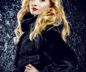 Wearing black mink coat beautiful fashionable blonde Stock Photo 05