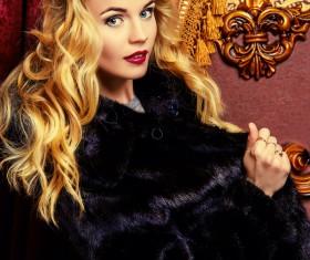 Wearing black mink coat beautiful fashionable blonde Stock Photo 06