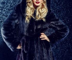 Wearing black mink coat beautiful fashionable blonde Stock Photo 07
