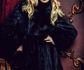 Wearing black mink coat beautiful fashionable blonde Stock Photo 08