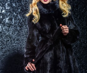 Wearing black mink coat beautiful fashionable blonde Stock Photo 09