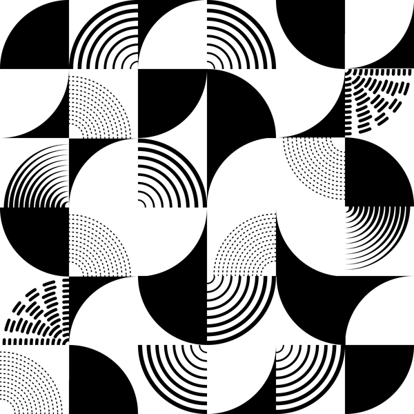 White with black geometry vector seamless pattern 01