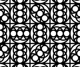 White with black geometry vector seamless pattern 07