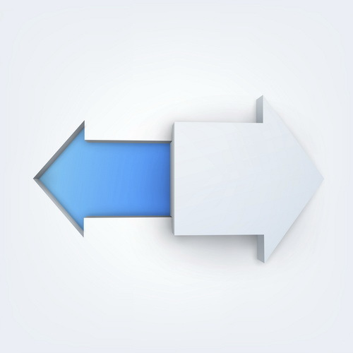 White with blue arrow vector material