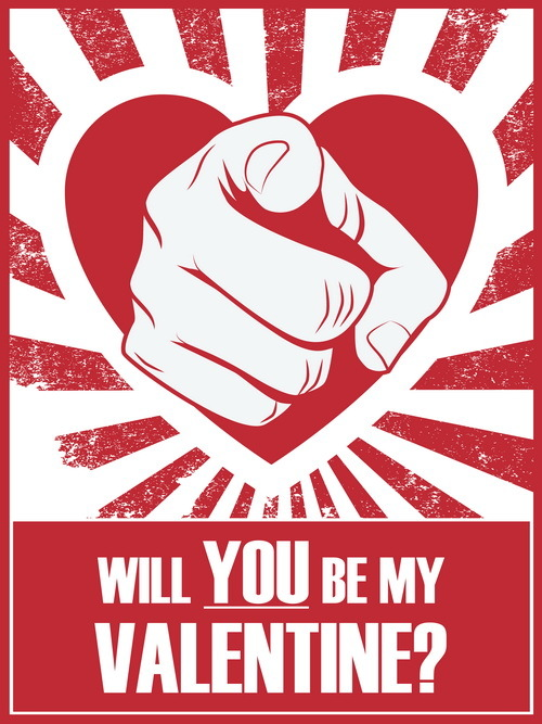 Will You Be My Valentine Vintage Poster Vector