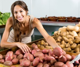 Woman buying vegetables Stock Photo 02