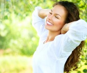 Woman enjoying the summer sun Stock Photo 02