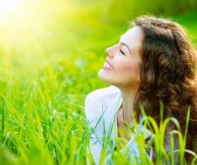 Woman enjoying the summer sun Stock Photo 03