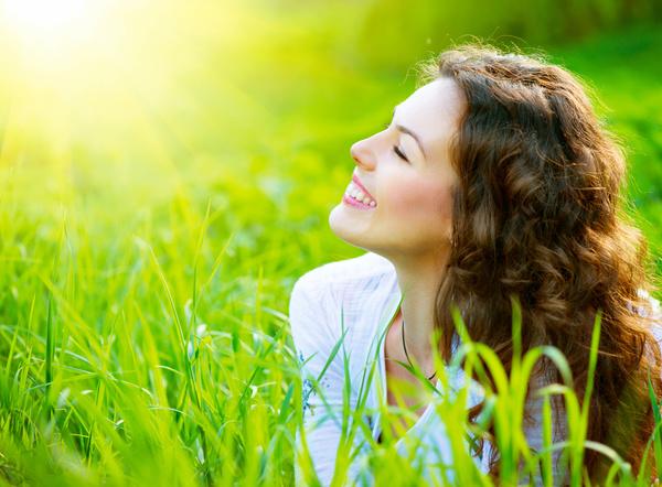 Woman enjoying the summer sun Stock Photo 03