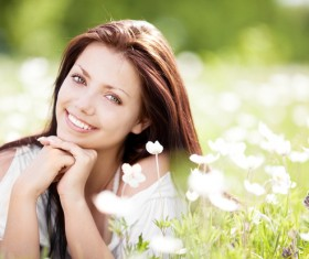Woman lying in the flowers Stock Photo 02