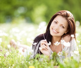 Woman lying in the flowers Stock Photo 03
