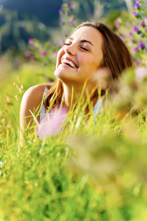 Woman lying in the flowers Stock Photo 06