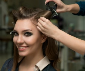 Woman perming in the beauty salon Stock Photo 07