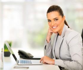 Woman using laptop Stock Photo 01