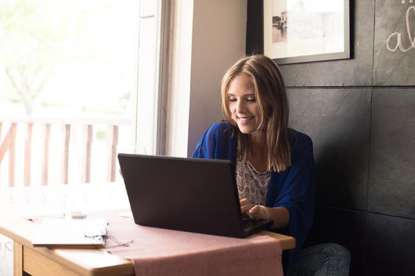 Woman using laptop Stock Photo 04