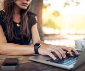 Woman using laptop Stock Photo 05