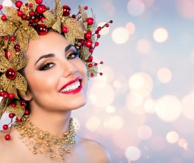 Woman wearing decorative wreath Stock Photo