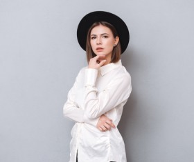 Woman wearing long sleeved chiffon shirt Stock Photo