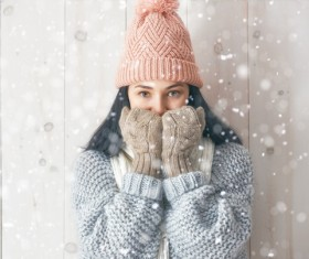 Woman wearing warm knit sweater Stock Photo