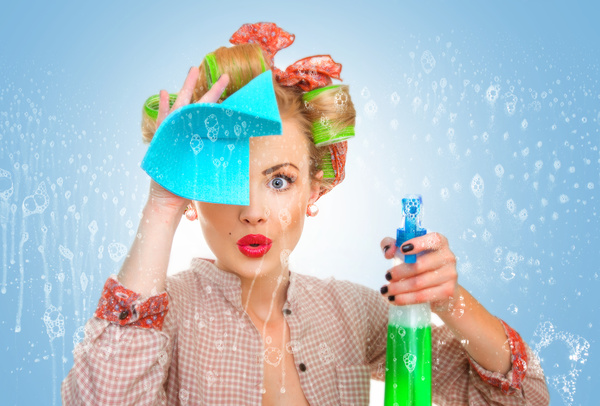 Woman wiping glass Stock Photo 01
