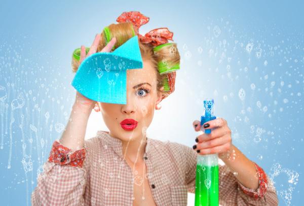 Woman wiping glass Stock Photo 01