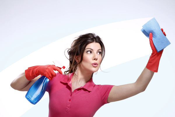 Woman wiping glass Stock Photo 02