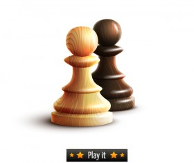 Wooden chess pieces vector illustration