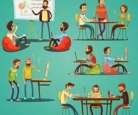 Working cartoon funny design vector 01