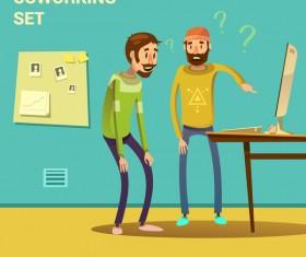 Working cartoon funny design vector 04