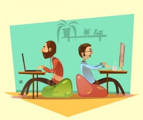 Working cartoon funny design vector 05