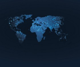 World map with dark blue background vector