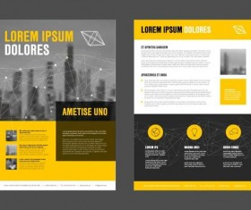 Yellow business brochure cover template vector