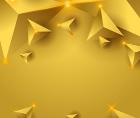 Yellow triangle background with star light vector 02