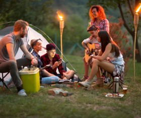 Young friends camping gathering Stock Photo 03